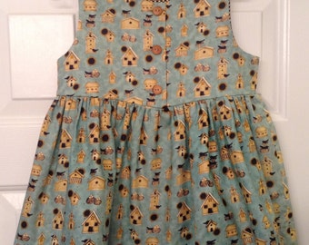 Girls green cotton dress with bird houses size 3T