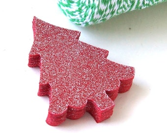 20 Christmas Tree Die Cuts in Silver Glitz Red . 1.75 x 2.25 inches