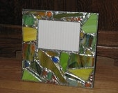 Bright and Funky Recycled Stained Glass Mosaic Picture Frame (holds a 5 x 7 photograph)