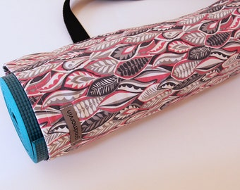 Yoga Mat Bag, Pink Yoga Bag, Gray Yoga Bag, Yoga Mat Carrier, Gift for Yogini, Leaves