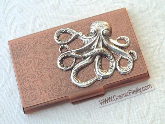 Silver octopus copper business card case steampunk card case for Steampunk business card holder
