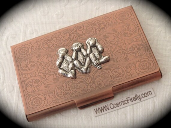 Copper business card case silver monkeys steampunk card case for Steampunk business card holder