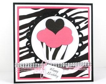 Cupcake, birthday card, happy birthday, girls birthday, zebra print PERSONALIZED card
