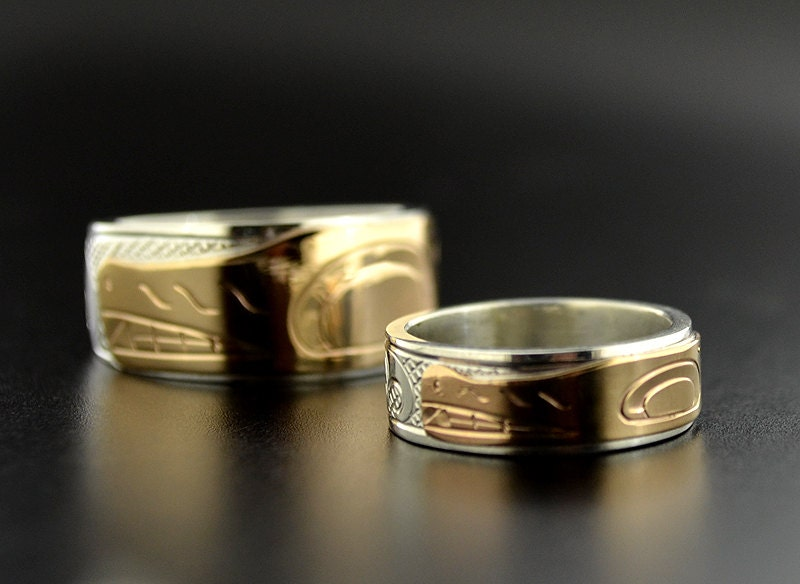 His And Her Native Combination Wedding Band Wolf Design Silver