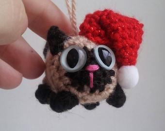 Cat Tree Ornament - cat Christmas ornament - Christmas cat - custom tree ornament - crochet cat plush - crochet ornaments - amigurumi cat