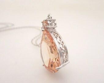 Crystal Bridal earrings, Champagne Wedding earrings, Teardrop pendant necklace, Bridal crystal necklace, Bridesmaid jewelry, Blush Wedding