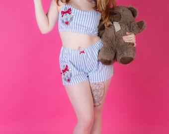 Nautical Pyjama Set, Sailor Pyjamas, Rockabilly Pj Set, Gift for Girlfriend, Anchor Pyjamas, Pin Up Girl, Made To Order in Sizes: XS-XXL