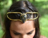 RESERVED - SALE was 121USD - Elven Fairy Pixie Brass Goddess Labradorite Tear Drop Crystal Stone Flower Tiara Crown Head Piece OOAK