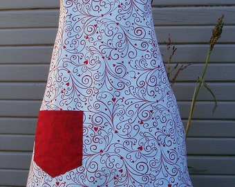 Heart Swirl Valentine's Apron - completely reversible - Adult Sized Adjustable Apron - READY TO SHIP