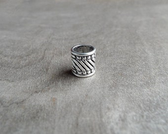 Striped Dreadlock Bead Accessory Extension Accessories Dread Boho Bohemian Hippie Silver
