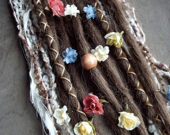 10 Custom Standard *Clip-in or Braid-in Flower Maiden Synthetic Dreadlock Extensions Boho Dreads (Light Brown 12)