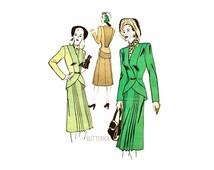 Vintage 40s Womens Suit Pattern Butterick 4257, Cutaway Jacket with V Neckline, Front Pleated Skirt, Bust 32, 1940s Dressmaker Suit