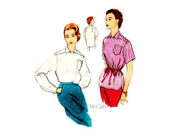 1950s Womens Shirt Pattern McCalls 3126, Bust 34, Yoke Bodice, Long or Short Sleeve Vintage Blouse Sewing Pattern