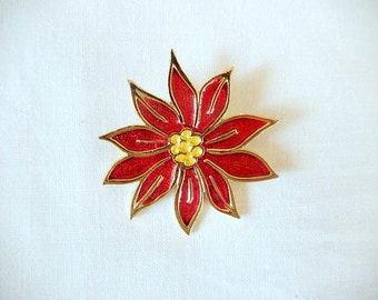 vintage Christmas pin brooch, Beatrix, red poinsettia, vintage Holiday Christmas jewelry