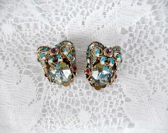 vintage rhinestone earrings,  West Germany, gold tone, multi colored rhinestones, vintage jewelry