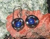 Deep Blue Jade Center Hematite Wavy Circle Dangle Earrings EaringsTitanium Ear Wires Hypo Allergenic Shiny