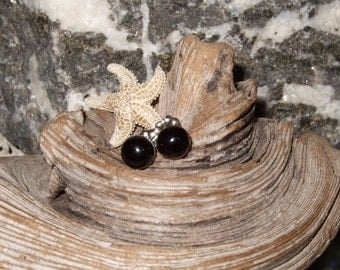 Black Onyx 6mm Round Stud Earrings Earings Titanium Post and Clutch Hypo Allergenic Handmade in Newfoundland Chalcedony