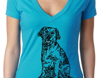 dog shirt - dog tshirt - womens shirts - labrador retriever - dog lover tshirt - dog lover gift - hipster shirt - BLACK DOG - deep vneck