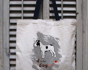 tote bag canvas - dog tote - dog bag - dog lover gift - book bag - book tote - dog carrier tote - dog gifts - D IS FOR DOG - tote bag