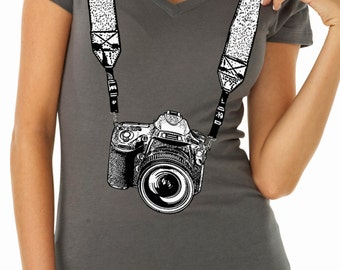 photographer shirt - photographer gift - photography gifts - womens tshirts - camera shirt - gift for her - TAKE A PICTURE - sport v-neck