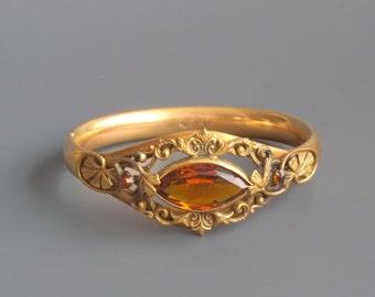 Art Nouveau Bracelet. Leaves. Amber Glass Stone. Bridal Wedding.