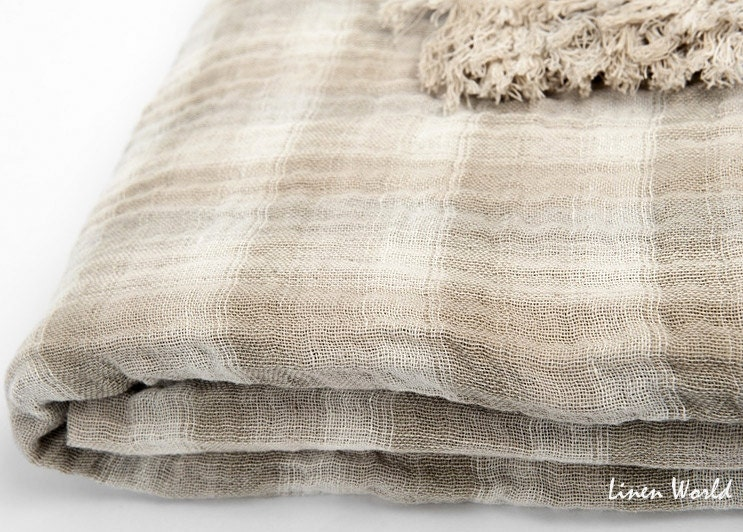 Boho Linen Blanket Throw Light Brown Beige Linen Cotton