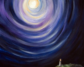 Moon and a Lighthouse, Landscape Painting - Stretched Canvas Giclee Gallery Wrap