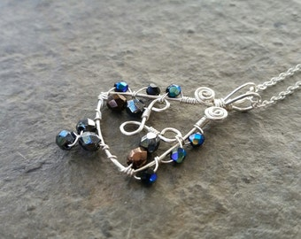 Czech fire polished glass beads and sterling silver wire wrapped pendant necklace