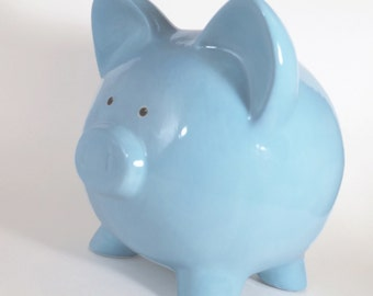 Light Blue Piggy Bank - Personalized Piggy Bank - Classic Blue Bank -  Plain Ceramic Piggy Bank - with hole or NO hole in bottom - USA made
