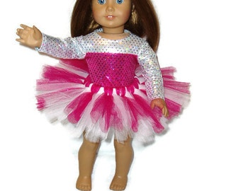Ballet Leotard n Tutu 18 inch doll clothes fits American Girl Hot Pink Silver   Item 266