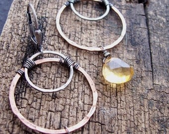 Citrine Earrings, Mixed Metals  Hoop Earrings with Citrine, Organic Hoop Earrings with Citrine,