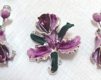 Enamel Rhinestone Orchid Pin and Screw back Earrings