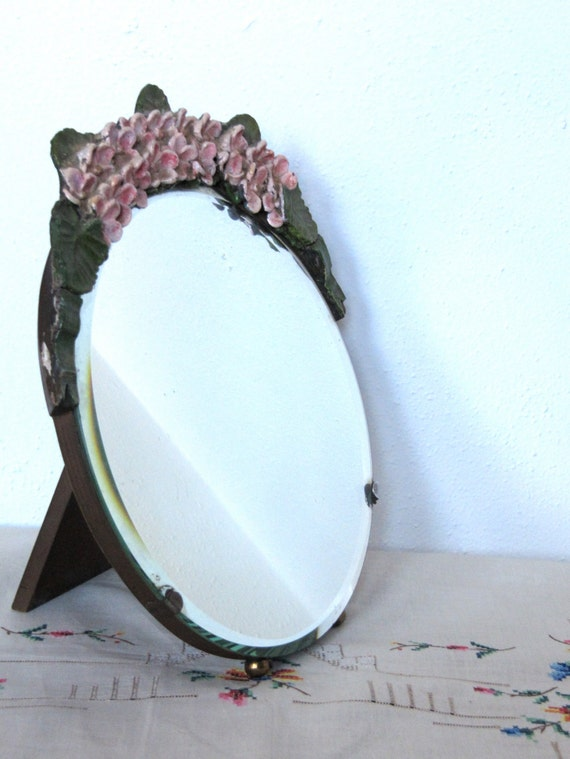 Large round vintage english barbola mirror ball feet beveled for 7 foot mirror