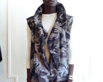 Norma Kamali Gray Tone Camo Puffer Vest