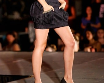 30% SALE Sz. 3 - 4 Denim Bubble Skirt Sz. Small Cotton Spandex Mini Skirt Low Waist Dark Blue and Moss Green