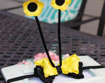 Yellow Black Ruffle Bow Bee Antennas Stretch Headband Great Photography Prop halloween costume prop