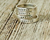 Gothic Font Hand Stamped Mother's Rings, Mother's Ring, Name Rings, Handstamped Name Rings, Kid's Name Rings, Stackable Mother's Ring