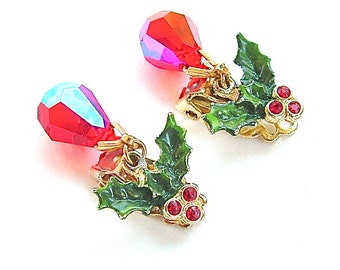 Vintage Holiday Dangle Earrings Holly Leaf Berry Red Crystal Drop Rhinestone Christmas Jewelry