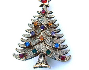 EISENBERG ICE Christmas Holidays Gifts Tree Faux Stone Ruby Sapphire Citrine Amethyst Emerald Colorful Designer Rhinestone Jewelry