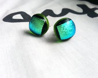 Green, black and aqua metalic fused glass post earrings