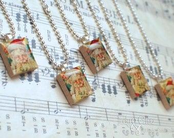 Santa Claus Scrabble Necklace, St. Nicholas Handmade Scrabble Tile Art Pendant, Old St. Nick, Wood Pendant, Tiny Jewelry, Santa Lover Gift