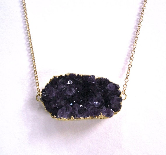 amethyst cluster pendant necklace gold filled by