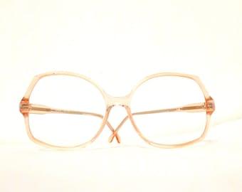 Big NOS Pale Rose Pink Vintage 70s Mod Disco Eyeglass Frame. Warhol Bug Eye Granny Cat Geek Chic Charlie's Angels Cat Sunglasses. SALE