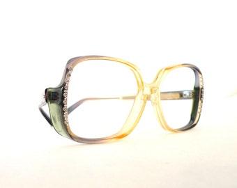 70s Rhinestone Studded Disco Eyeglass Frame Vintage NOS Never Used Mod Fader Hip Hop Producer Designer Boho Sunglasses on sale