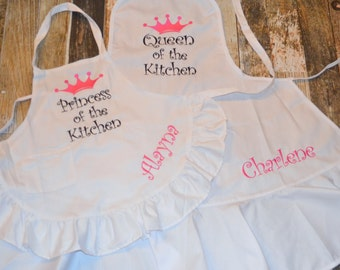 Mommy and Me Apron Set - Queen and Princess of the Kitchen - Personalized Ruffle Aprons