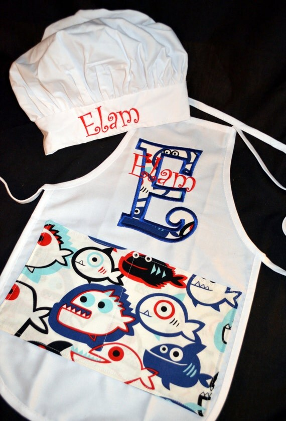 child 39 s apron and chef hat set personalized with by daisykdesigns. Black Bedroom Furniture Sets. Home Design Ideas