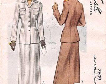 McCall 7609 - 1940s Womens Suit Sewing Pattern Size 12 Slim Skirt Patch Pockets Cuffs