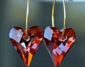 Red Swarovski Crystal Wild Heart Hoop Earrings in Gold