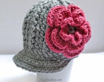 Crochet Baby Hat- Girl Newsboy Hat with Flower