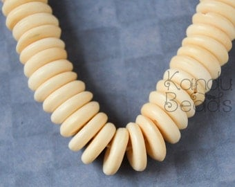 Carved Cattle bone beads FLAT DISK Off White 10X3MM 12""